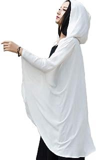 LZJN Cotone Lino Delle Donne Trench Cappotto Con Cappuccio Plus Size Nero Bianco Mantello Leggero Aperto Anteriore Cappott...