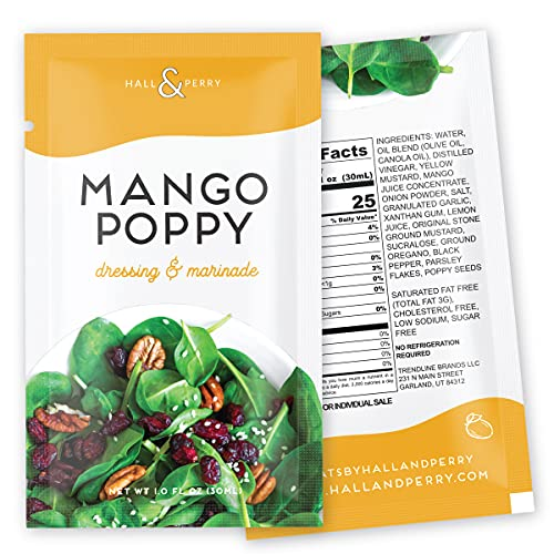 Hall & Perry Low Calorie, Low Fat, Keto Friendly Salad Dressing- Mango Poppy Flavor in 12 Ready to Serve Pouches, 1 oz each