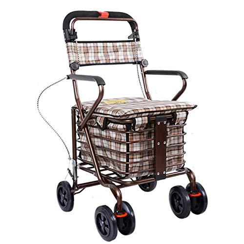 QXTT Einkaufstrolley Mit Sitz Leichte Faltbare Rollator Walker Transport Stuhl Abschließbare Bremse Faltbare Und Einstellbare Einkaufswagen Trolley