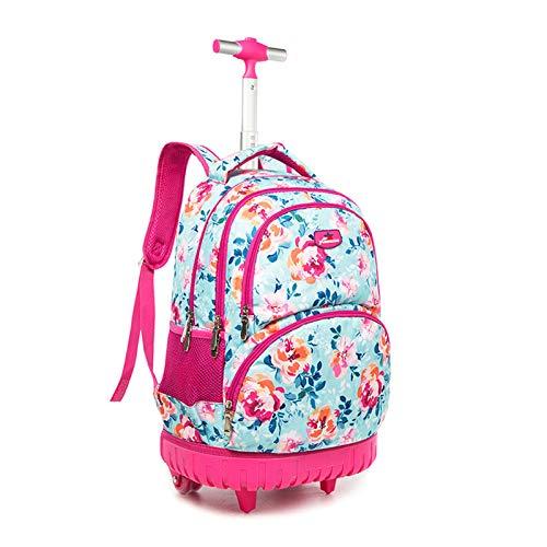 BCXS Ruote Zaino per la Scuola Media, Wheeled Backpack Laptop Bag 20-35 Litri Volume Zaino Trolley a Tirare con Scomparto Portatile per la Scuola, università, Viaggi, Viaggi o Shopping,Rosa