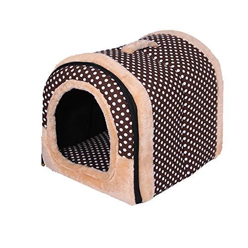 XYBB huisdierbed, mat, opvouwbaar puppenbed, kattenhuis, voor kleine middelgrote huisdieren, reisdieren, bedtas, 38x33x32cm, bruin