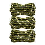 SENDILI 3 Pares Cordones Redondos - Cordones Resistente y Duraderos 4.5 mm Diámetro para Botas, Zapatillas de Seguridad y Zapatos de Senderismo, Verde-Amarillo * 3 Pares/100cm