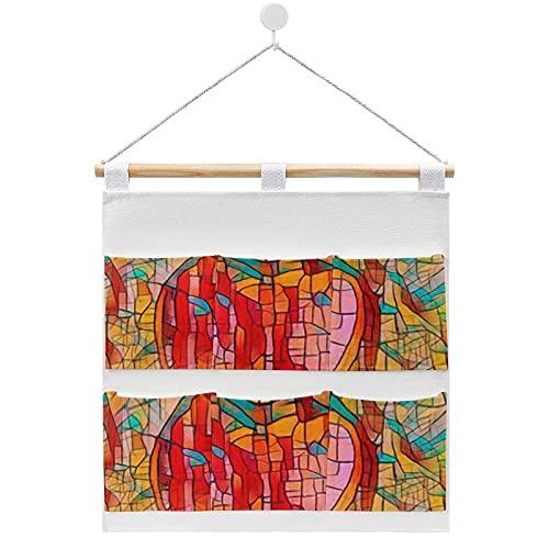 Bolsa de almacenamiento para colgar en la pared, con forma de corazón y vidrieras para amantes de la puerta, con 6 bolsillos para la familia, baño, dormitorio, cocina