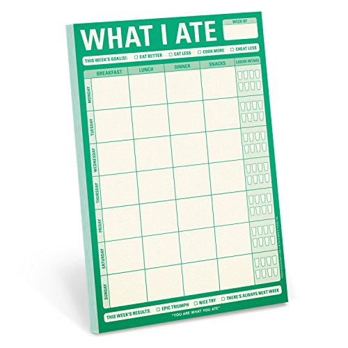 Knock Knock What I Ate Pad, Meal Tracker Note Pad, 6 x 9-inches