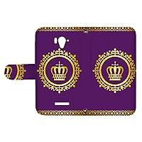 スマQ AQUOS SERIE SHL25 国内生産 ミラー スマホケース 手帳型 SHARP シャープ アクオス セリエ 【C.パープル】 王冠とレース シンプル ami_vd-0248
