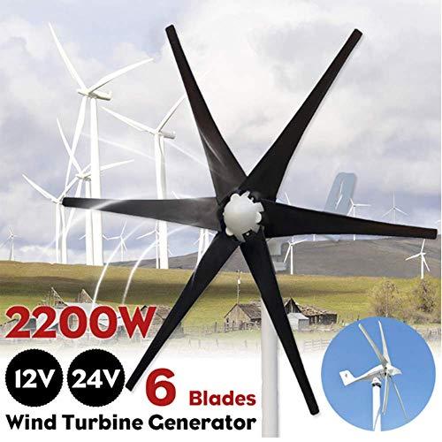 SISHUINIANHUA 2500W Wind Turbines + Regler 12V 24V Horizontal Generator 6 Nylon-Faser-Blatt-Windenergieanlagen Fit für Zuhause oder Camping,24v