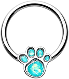 16 GA Animal Lover Paw Print Glitter Opal Steel Captive Bead Ring 316L Surgical Stainless Steel Body Jewelry Piercing For Women and Men DavanaBody (Multiple Sizes)