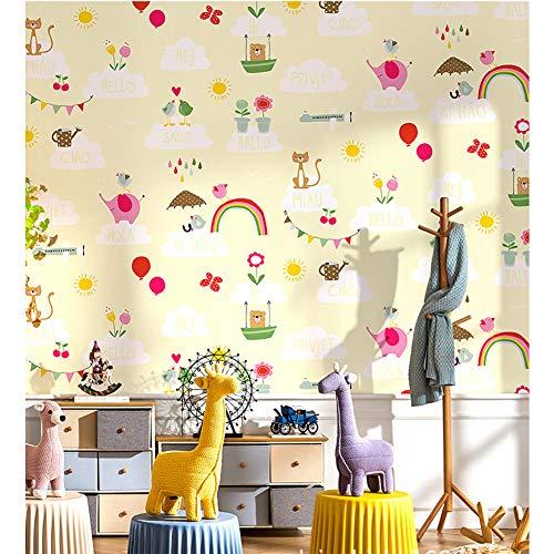 Xnxn Cielo De Dibujos Animados Y Nubes Blancas Papel Pintado Wallpaper,Animal Globo Flor Arco Iris Patrón Wallcovers,No-Papel Tejido para Niños
