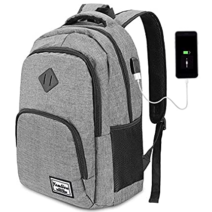 Mochila Portatil 17 Pulgadas con USB Puerto para Escolar Negocio- 35L (17.3 Pulgada, Gris)
