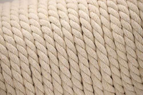 Corda in cotone intrecciato, grigio - bianco, 8 mm di spessore, 10 m