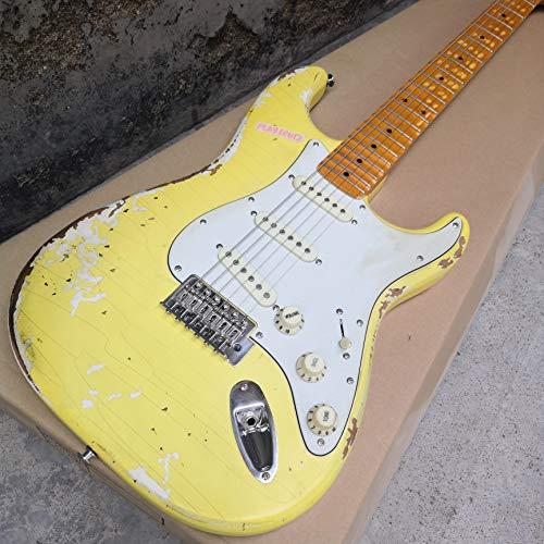 LKAIBIN Guitarra eléctrica antigua hecha a mano, accesorios de reliquia hechos a...