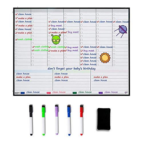 Magnetischer Wochenplaner Kühlschrank-Whiteboard – Wochenplaner – Familienplaner – Organisieren Sie Ihre Organisation, um Stress in Ihrem Leben zu reduzieren.