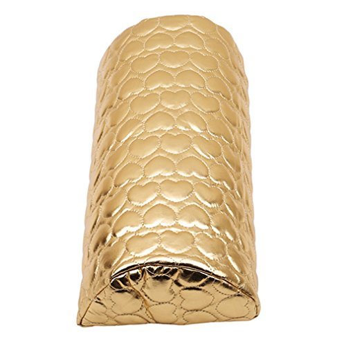 生命美甲艺术手靠垫座软PU皮革海绵扶手爱心设计美甲枕头美甲艺术美容配件黄金