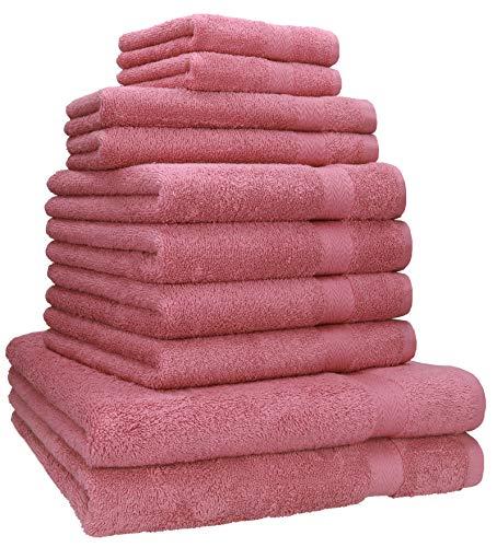 Betz 10-TLG. Handtuch-Set Classic 100% Baumwolle 2 Duschtücher 4 Handtücher 2 Gästetücher 2 Seiftücher Farbe Altrosa