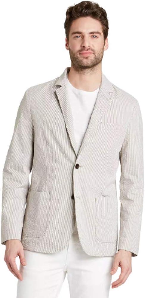 Men's Striped Standard Fit Seersucker Kenwood Blazer (Cream