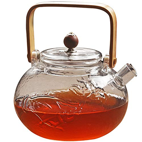 Nobranded Teekanne Glas Teebereiter 1500 ml mit abnehmbare Edelstahl-Sieb Glaskanne