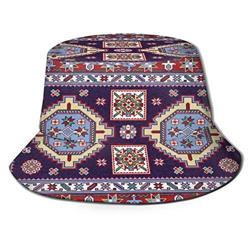 Yoliveya Angelhut Fischerhut,Bunter Mosaik Oriental Shirvan Teppich Traditionell,Bonie Safari Sonnenhüte zum Wandern im Freien für Männer und Frauen