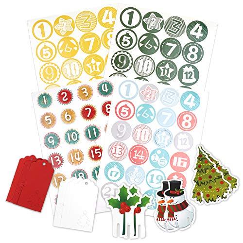 CDILOGO Adventskalender Nummer Aufkleber, 4 x 24 Advent Kalender Aufkleb, Weihnachtskalender, Zahlen Aufkleber für Weihnachten zum Selber Basteln und Verzieren, Runde Nummern Etiketten selbstklebend