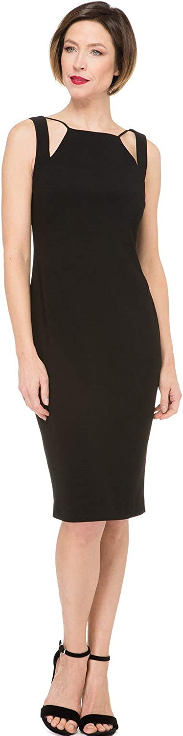 Joseph Ribkoff Sleeveless Split Neck Little Black Dress Style 191039