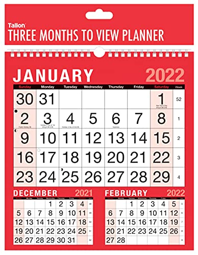 2022 Calendar Planner Month to View / Week to View Organiser Spiral Bound Wall Planner for Home Business Office School (Three Months to View)