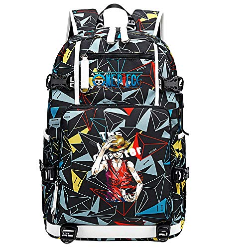 ZZGOO-LL One Piece Monkey·D·Luffy/Roronoa Zoro Anime Backpack Middle Student School Rucksack Daypack for Women/Men with USB-F