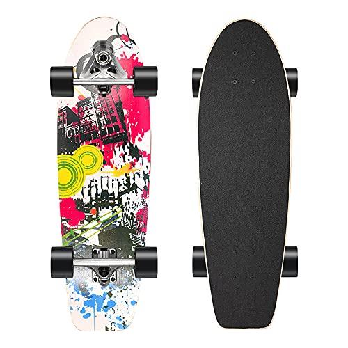 Komplettes Cruiser Skateboard Anfänger Carving Komplettboard 7-lagigem Ahornholz Longboard mit ABEC-11 Kugellagern CX7 Truck 5