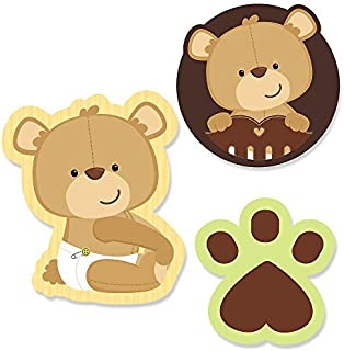 Big Dot of Happiness Baby Teddy Bear - DIY Shaped Baby Shower Party Cut-Outs - 24 Count