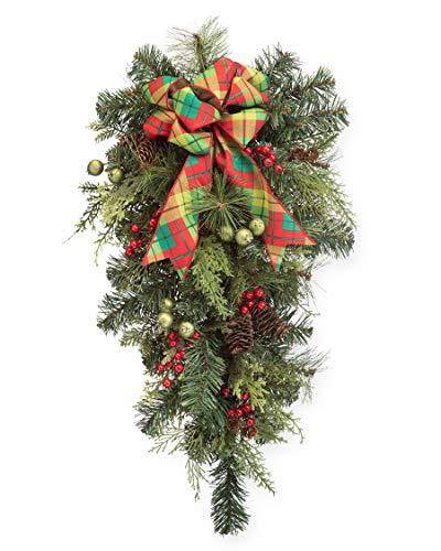 Petals - Forevergreens & Berries - Artificial Holiday Teardrop - Handcrafted Beautiful Silk Flowers