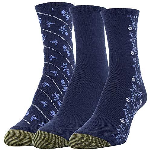 Gold Toe Women's Designer Collection Midi Socks, 3 Pairs, Navy, Blue, Shoe Size: 6-9
