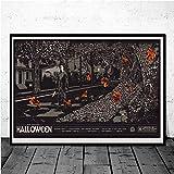Flduod Halloween Cadeau Michael Horreur Film Art Affiches et Impressions Toile étanche décorer des Cadeaux pour la Maison 40X60Cm sans Cadre
