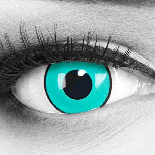 Meralens 1 Paar Farbige Anime Manga Kontaktlinsen Ohne Stärke mit gratis Kontaktlinsenbehälter - Gaara in grün türkis schwarz perfekt zu Hereos of Cosplay, Halloween 12 Monatslinsen
