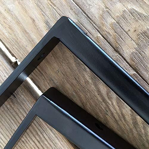 Heavy Duty Shelf Brackets 2pcs Solid Support 90 Degree L Shape Book Shelf Bracket Tripod Triangle Shelf Brackets Right Angle Corner Bracket Matte Black (6/8/10/12in)