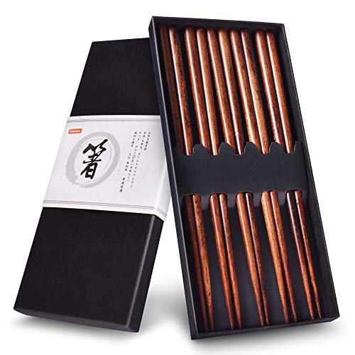 Gimars Essstäbchen, Holz Essstäbchen Set für Chinesische Geschirr, Wiederverwendbare Chopsticks,Natürliche Japanische Essstäbchen(5 Paare)