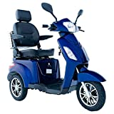 Electric Mobility Scooter 3 Wheeled with Extra Accessories Package: Mobility Scooter Waterproof Cover, Phone Holder, Bottle Holder by Green Power (Blue)