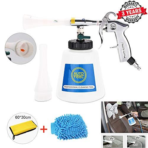 EXLECO Auto Reinigungspistole, Innenreiniger Waschpistole,6~9,2Bar Druckluft Reiniger Innenraumwaschpistole Tragbare Sprühpistole mit Schaumflasche, für Auto, Armaturenbrett, Ledersitze