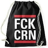 MoonWorks® Turnbeutel Aufdruck FCK CRN Parodie Hiphop Musik Pandemie Virus-Krise durchhalten Statement Gymbag schwarz Unisize