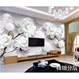 Zybnb Papel De Pared 3D En Relieve Con Flor Blanca Para Paredes 3 D Papel Tapiz Mural Para La Sala De Estar Dormitorio Contexto Fondos De Pantalla Papel De Contacto