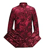 Tang Suit Men Traditional Chinese Clothing Suits Hanfu Cotton Long Sleeved Shirt Coat Mens Tops and Pants (Red, XL)