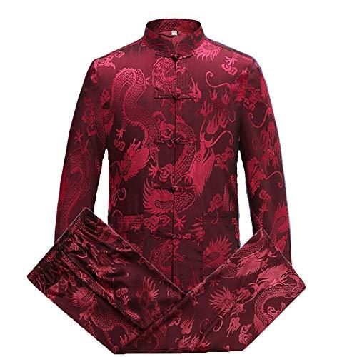 Airuiby Tang Anzug Männer Traditionelle chinesische Kleidung Anzüge Hanfu Baumwolle Langärmeliges Shirt Mantel Herren Tops und Hosen (Rot, XL)