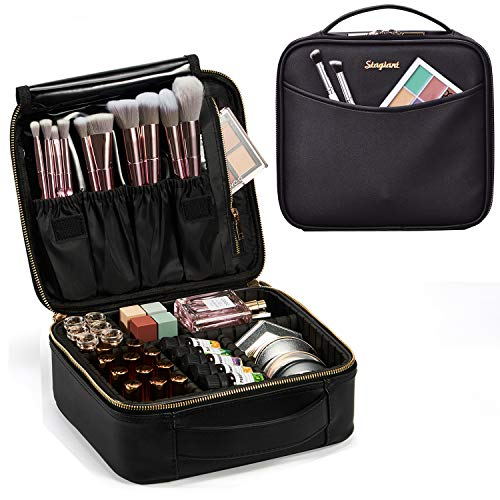 Leather Makeup Train Case Travel Makeup Bag PU Leather Cosmetic Bag Storage Organizer with Adjustable Divider Outside Pocket Portable Brush Holder Gift for Women - Black Leather