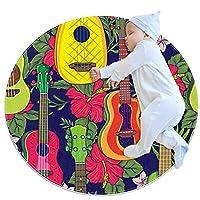 エリアラグ軽量 ポップカラフルなギター フロアマットソフトカーペット直径31.5インチホームリビングダイニングルームベッドルーム