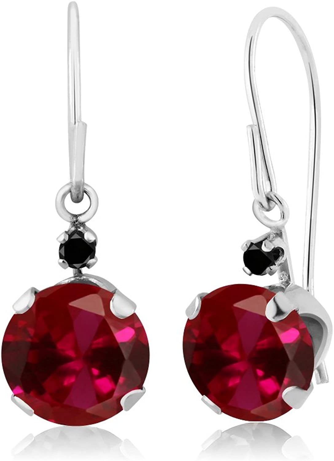 2.03 Ct Round Red Created Ruby Black Diamond 14K White gold Earrings
