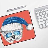 Gaming Mousepad Mauspad,Yorkie, Terrier mit einer blauen Weihnachtsmütze und einer Spiegel-Pilotenbrille Spaß Hand gezeichnetes Tier D,Komfort Mousepad - verbessert Präzision und Geschwindigkeit