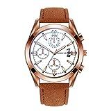 Yivise Hombres Banda de Cuero Relojes Cuarzo analógico Reloj de Pulsera de Acero Inoxidable Dial Regalos creativos(G)