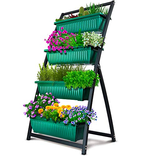4-Ft Raised Garden Bed - Vertical Garden Freestanding Elevated Planters 4 Container Boxes - Good for Patio Balcony Indoor Outdoor - Cascading Water Drainage (1-Pack Fernie/Forest Green)