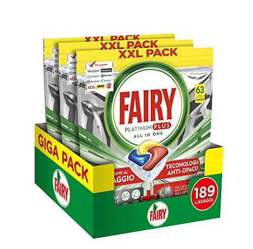 Fairy Platinum Plus Tutto in Uno Limone, 189 Capsule, Pastiglie per Lavastoviglie, Rimuove l'Opacità e Previene il Calcare, Maxi Formato da 3x63 Caps di Detersivo