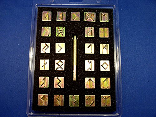 Tandy Leather Factory Runic / Celtic Alphabet Stamp Set 3/4' (with Stamping Handle), Brass Type Color