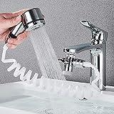 Waschbecken Wasserhahn Sprayer Set, Waschbecken Wasserhahn Sprühset, mit Schnellanschluss, abnehmbarer Schlauch, Handbrause zum Haare waschen, zum Baden von Haustieren (1)