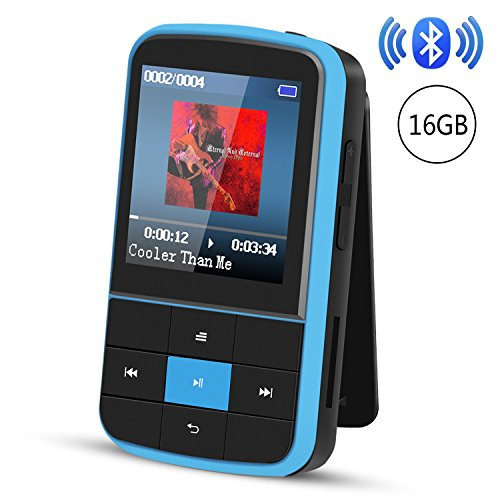 Clip MP3 Player, AGPTEK 16GB Bluetooth MP3 Player with Sweatproof Silicone Case and Sport Armband, Support FM Radio, FM Recording, Bookmark, Expandable up to 128GB