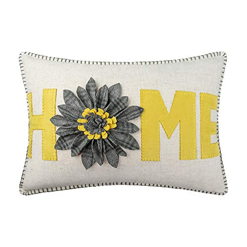 JWH 3D Flower Accent Pillow Case Handmade Pillow Cover Decorative Decorative Pillow Case Home Bed Living Room Office Chair Couch Decor Gift 14 x 20 Inch Gold Yellow